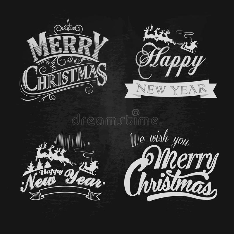 Kerstmis en Nieuwjaar de uitstekende etiketten van de krijttekst vector illustratie