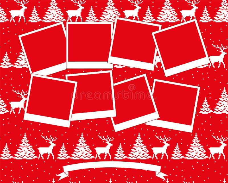 Kerstmis en Nieuwjaar de vector 2019 van de fotocollage stock illustratie