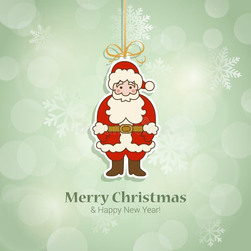 Kerstmis en Nieuwjaar de vector van het de prentbriefkaarmalplaatje van de stickerstijl royalty-vrije illustratie