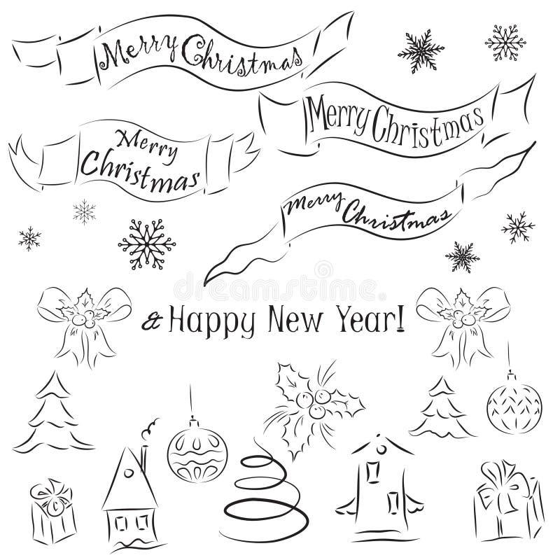 Kerstmis en Nieuwjaar decoratieve elementen stock illustratie
