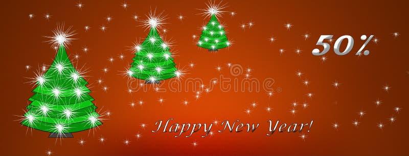 Kerstmis en Nieuwjaar, het concept van de kortingskaart, kortingen royalty-vrije illustratie