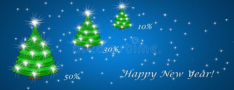 Kerstmis en Nieuwjaar, het concept van de kortingskaart, kortingen vector illustratie