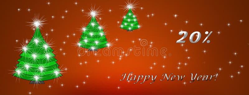 Kerstmis en Nieuwjaar, het concept van de kortingskaart, kortingen stock illustratie