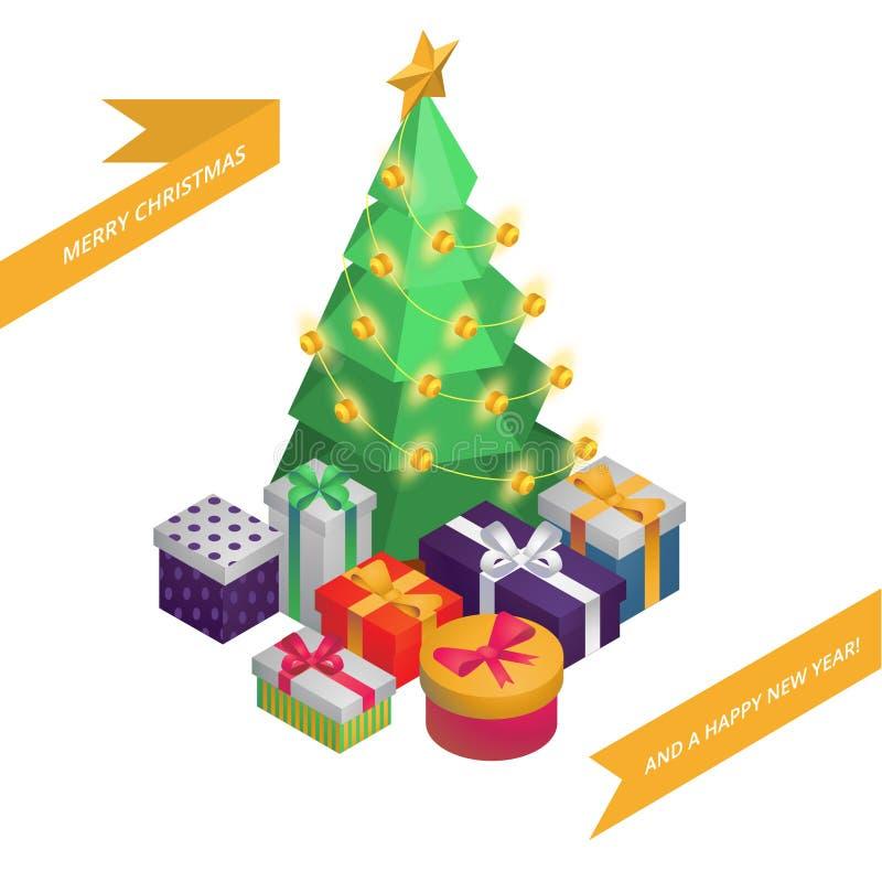 Kerstmis en Nieuwjaar Isometrische Groetkaart: Kerstboom, Decoratie, Giften 3d vectorillustratie EPS10 stock fotografie