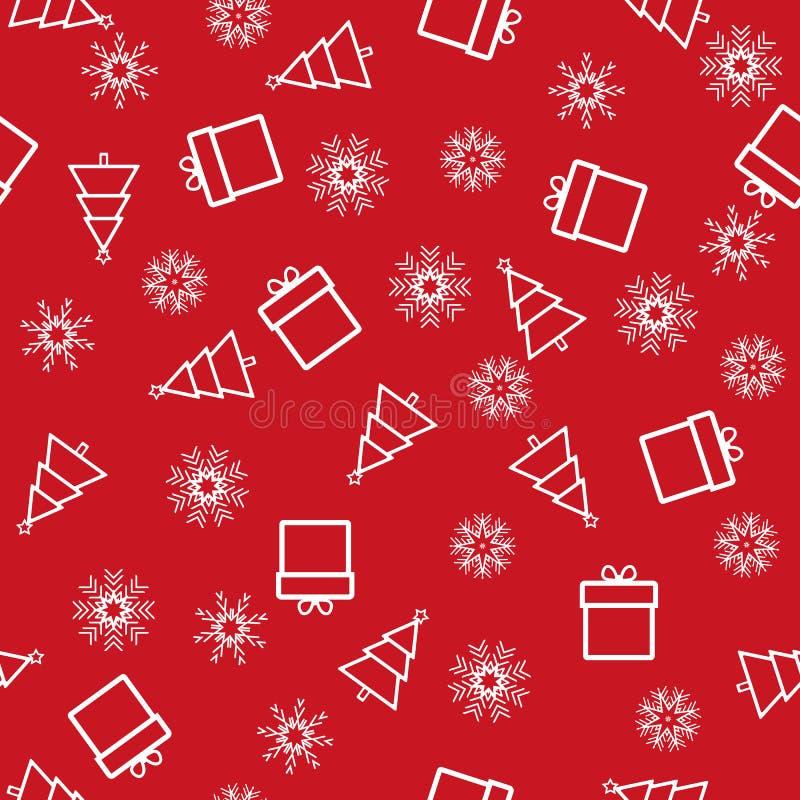 Kerstmis en Nieuwjaar naadloos rood patroon vector illustratie