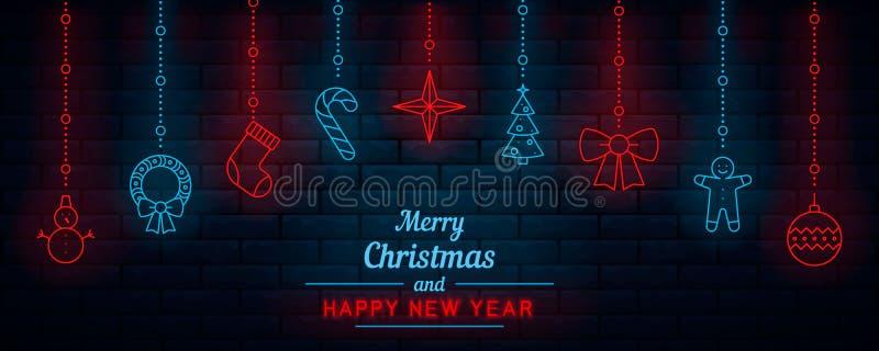 Kerstmis en Nieuwjaar neon royalty-vrije illustratie