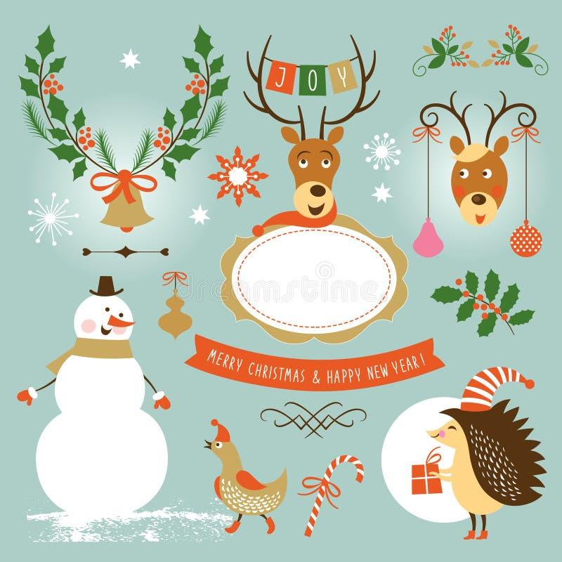 Kerstmis en Nieuwjaar, reeks grafische elementen stock illustratie
