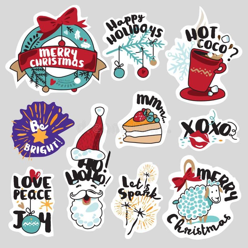 Kerstmis en Nieuwjaar sociale media geplaatste stickers royalty-vrije illustratie