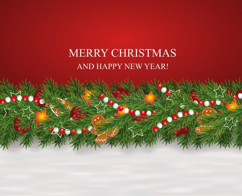 Kerstmis en Nieuwjaar verfraaide de sneeuwachtergrond slinger en grens van realistische die het kijken Kerstboomtakken worden ver royalty-vrije illustratie
