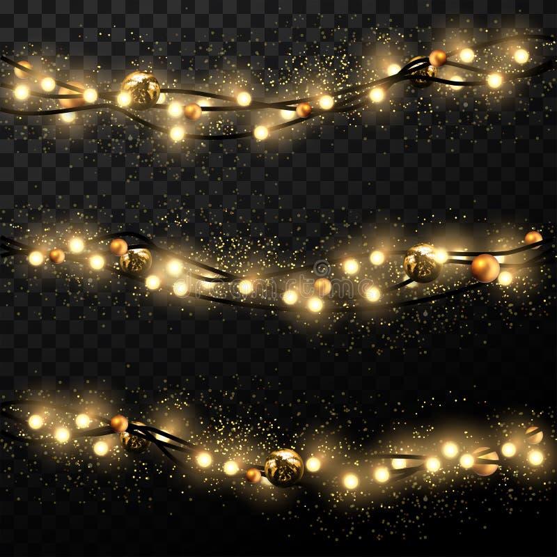 Kerstmis en Nieuwjaarachtergrond Drie Kerstboomlichten o stock illustratie