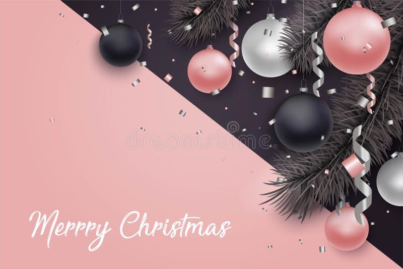 Kerstmis en Nieuwjaarachtergrond met ballen royalty-vrije illustratie