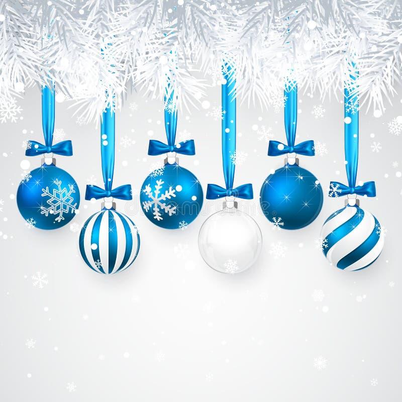 Kerstmis en Nieuwjaarachtergrond met Blauwe Kerstmisballen, spartak en sneeuw voor Kerstmisontwerp Vector illustratie royalty-vrije illustratie