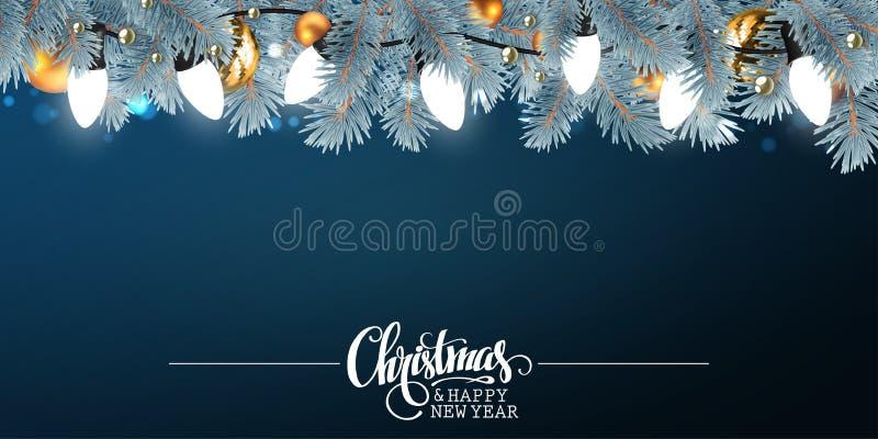 Kerstmis en Nieuwjaarachtergrond met feestelijke garlan decoratie vector illustratie