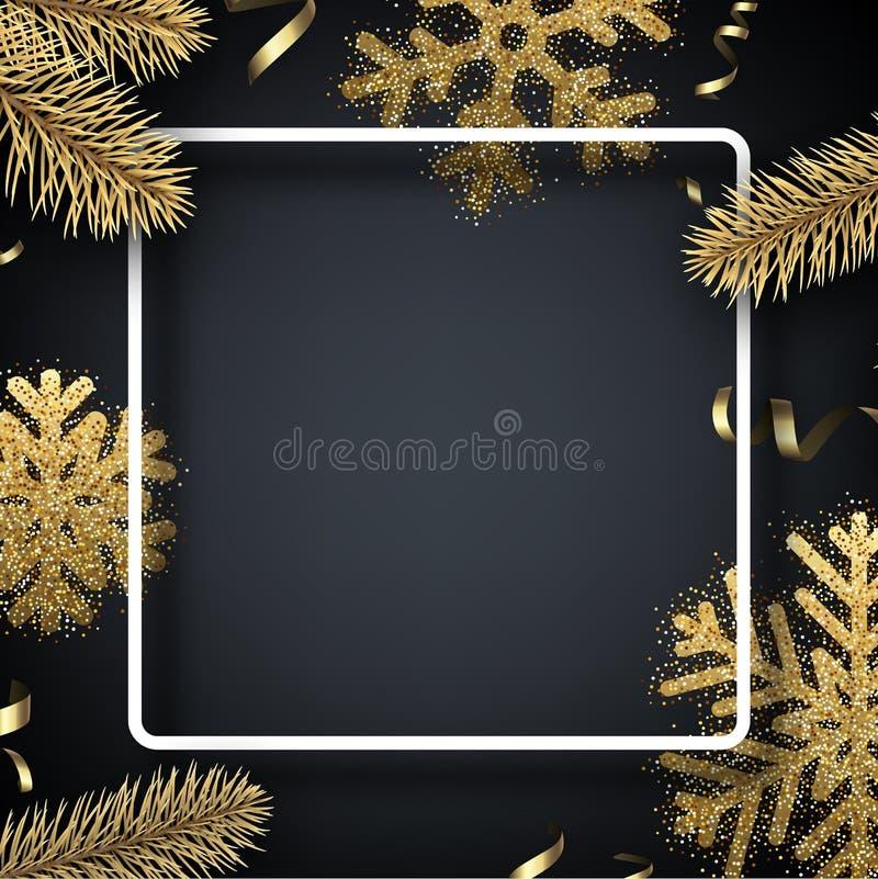 Kerstmis en Nieuwjaarachtergrond met vierkant kader en gouden D royalty-vrije illustratie