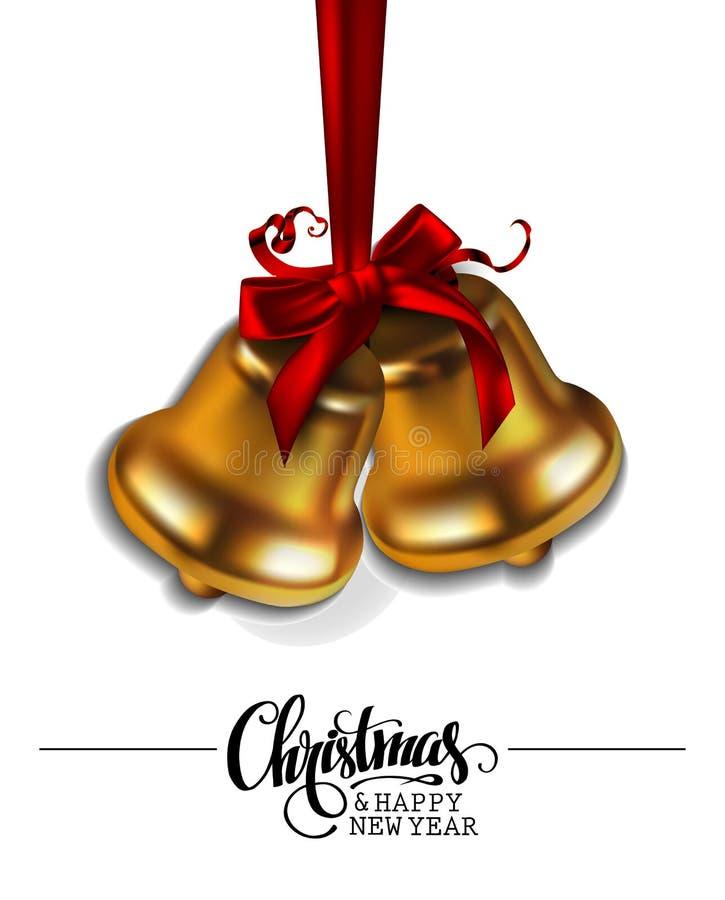 Kerstmis en Nieuwjaarachtergrond Twee klokken op een witte decorati vector illustratie