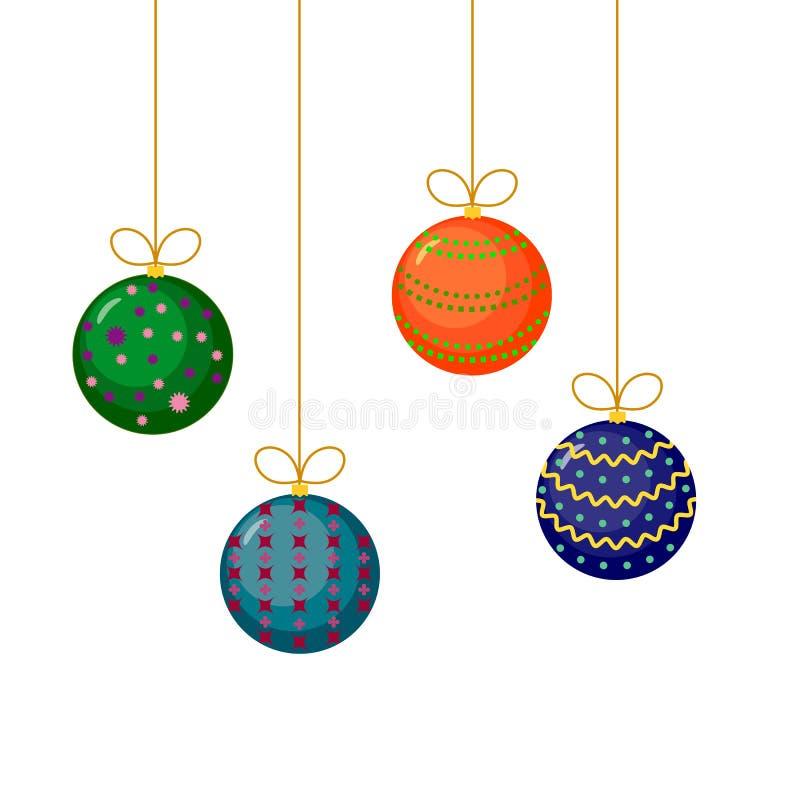Kerstmis en Nieuwjaarboomdecoratie royalty-vrije illustratie