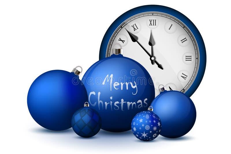 Kerstmis en Nieuwjaardecoratie Blauwe Kerstmisballen met zilveren houders en uitstekend horloge vector illustratie