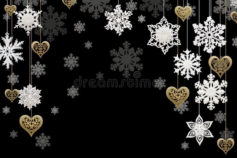 Kerstmis en Nieuwjaardecoratie: sneeuwvlokken en gouden harten royalty-vrije illustratie