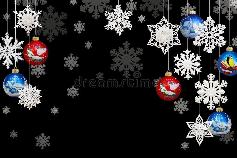 Kerstmis en Nieuwjaardecoratie: sneeuwvlokken en Kerstmisbal royalty-vrije illustratie
