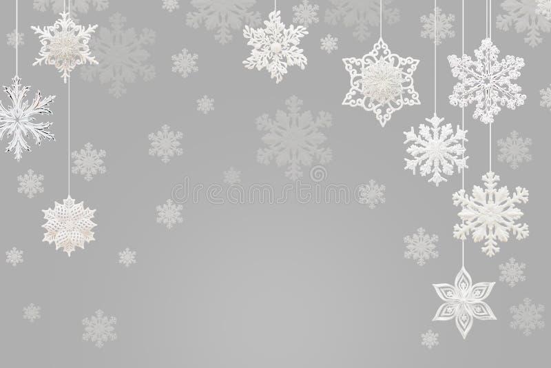 Kerstmis en Nieuwjaardecoratie: sneeuwvlokken op grijze backgroun stock illustratie