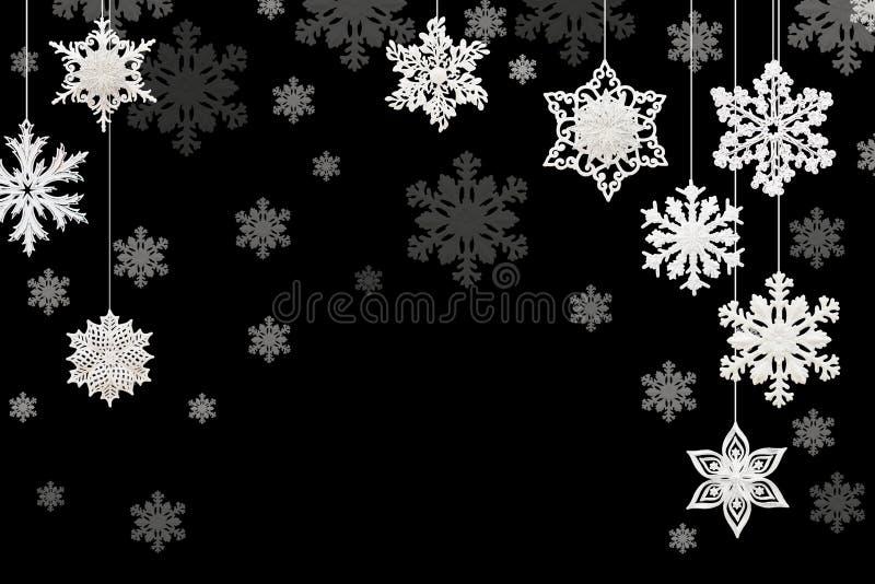 Kerstmis en Nieuwjaardecoratie: sneeuwvlokken op zwarte backgrou royalty-vrije illustratie