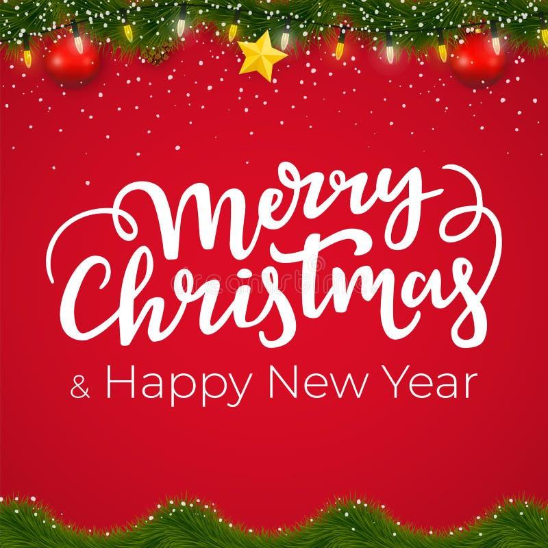 Kerstmis en Nieuwjaargrens met rode achtergrond Het ontwerp van de Kerstmiskaart met decoratieve elementen en de winterslinger royalty-vrije illustratie