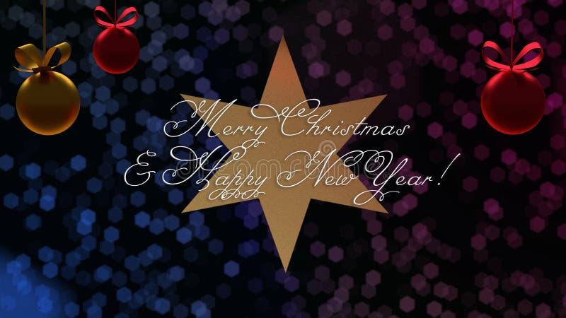 Kerstmis en Nieuwjaargroeten op de ster met blauwe en purpere bokeh op achtergrond stock illustratie