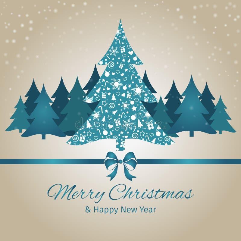 Kerstmis en Nieuwjaargroetkaart, Kerstboom, vectorillustratieachtergrond stock illustratie