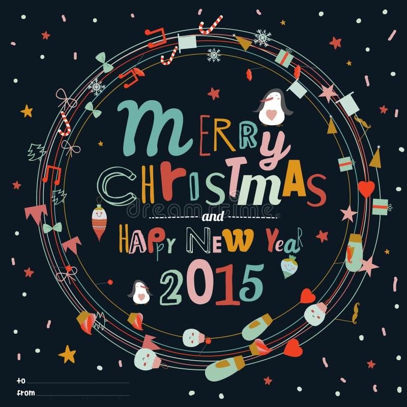 Kerstmis en Nieuwjaargroetkronen vector illustratie
