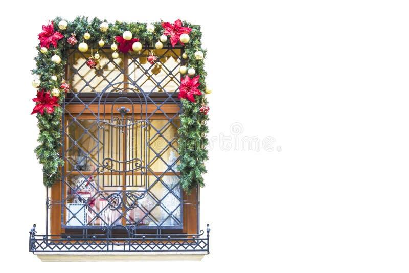 Kerstmis en Nieuwjaars het ontwerp van de Vooravondvakantie Het venster van Kerstmis stock fotografie