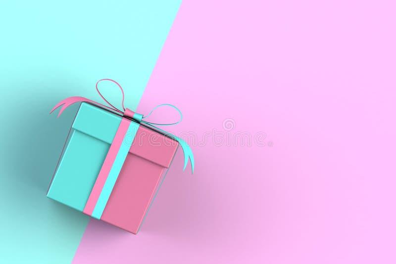 Kerstmis en Nieuwjaarsdag, cadeaudoosje geïsoleerd op roze en blauwe achtergrond royalty-vrije illustratie