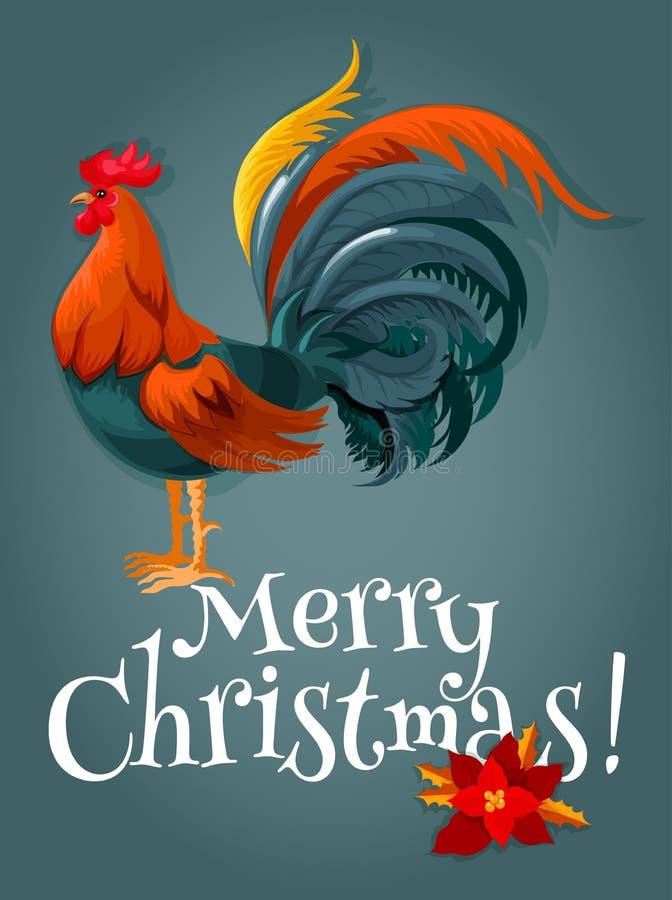 Kerstmis en Nieuwjaarskaart met brand rode haan royalty-vrije illustratie