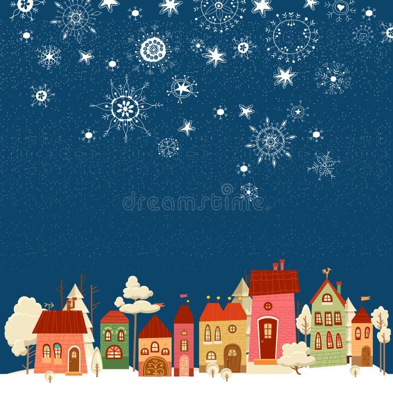 Kerstmis en Nieuwjaarskaart Vector versie in mijn portefeuille stock illustratie