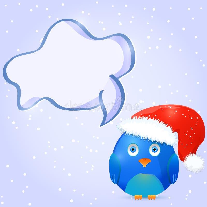Kerstmis en Nieuwjaarskaartontwerp met Vogel en Ruimte voor Tekst vector illustratie