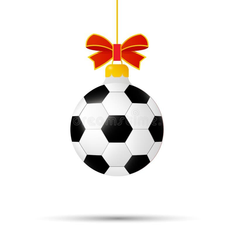 Kerstmis en Nieuwjaarstuk speelgoed voetbalbal stock illustratie