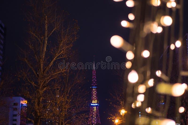 Kerstmis en Nieuwjaarverlichtingslichten bij Sapporo-de toren van TV in Odori-park royalty-vrije stock afbeelding