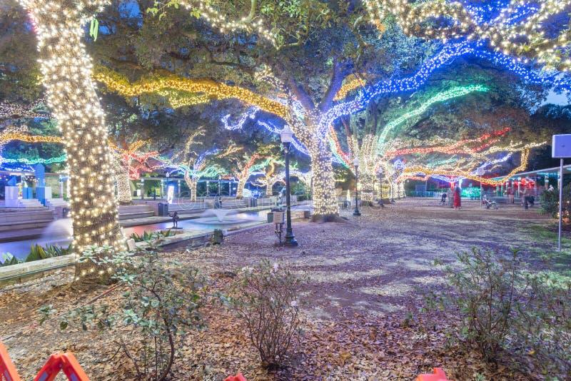 Kerstmis en Nieuwjaarvieringsverlichting in Houston, Texas, U royalty-vrije stock afbeeldingen
