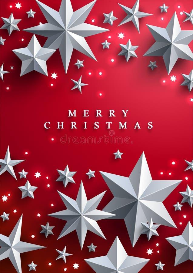 Kerstmis en Nieuwjaren achtergronddie met kader van sterren wordt gemaakt royalty-vrije illustratie