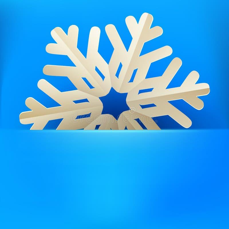 Kerstmis en Nieuwjaren blauwe achtergrond met uitstekende document sneeuwvlokkenkaart Eps 10 royalty-vrije illustratie