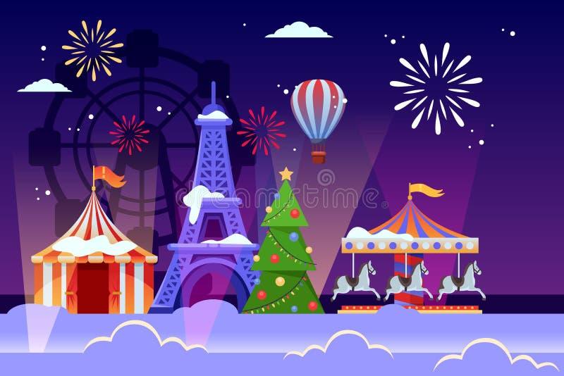 Kerstmis en Nieuwjarenvakantie in Parijs Vector vlakke illustratie van de toren, de Kerstboom en het pretpark van Eiffel stock illustratie