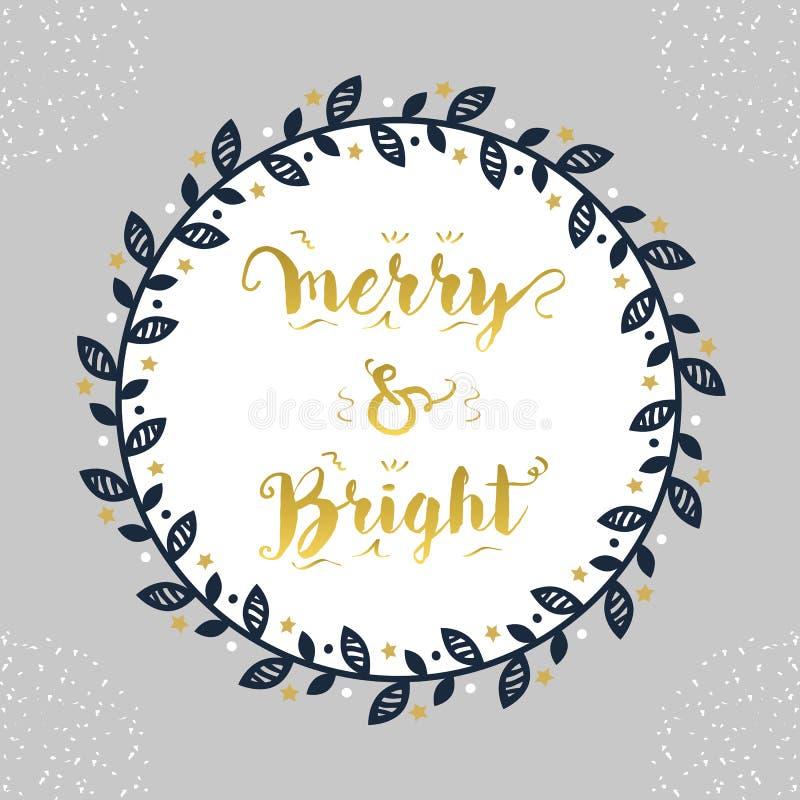 Kerstmis en Vakantie Vrolijk & Helder marineblauw bloemen de decoratieembleem van de cirkelgrens royalty-vrije illustratie