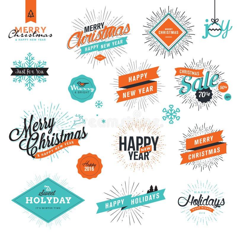 Kerstmis en van het Nieuwjaar uitstekende stijltekens vector illustratie