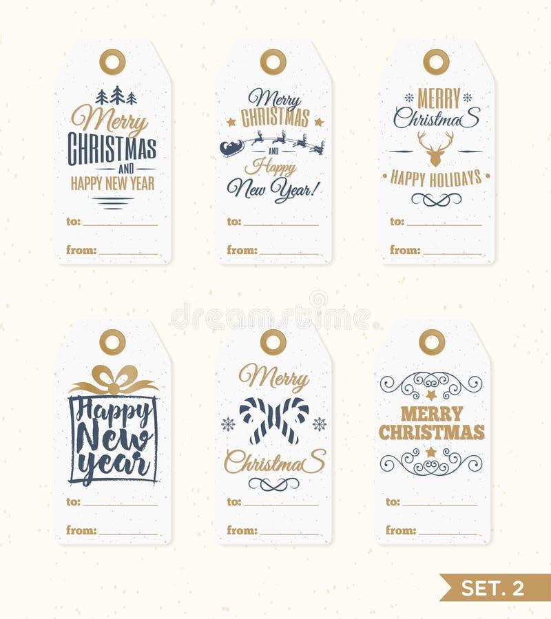 Kerstmis etiketteert en etiketteert vastgestelde elementen vector gouden kleur met suikergoed, santa en herten, sneeuwvlok stock illustratie