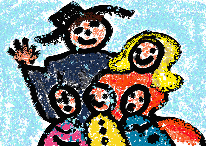 Kerstmis. Family.Winter vector illustratie