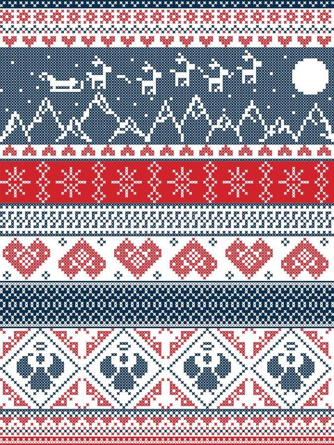 Kerstmis, feestelijk de winter naadloos patroon in dwarssteek met Kerstmisbomen, sneeuwvlokken, Rendier, bergen, maan, Ar, engele stock illustratie