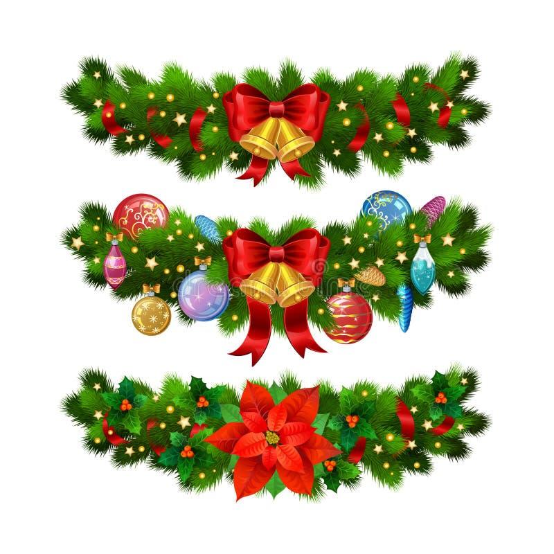 Kerstmis feestelijke decoratie van de takken van de Kerstmisboom stock illustratie