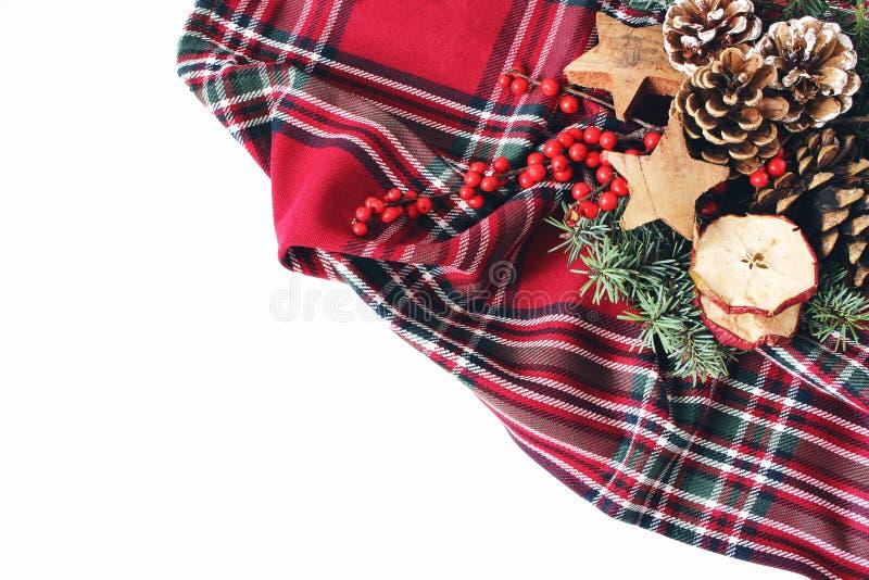 Kerstmis feestelijke gestileerde samenstelling De winter Bloemenregeling Denneappels, sparrentakken, rode hulstbessen en royalty-vrije stock afbeeldingen