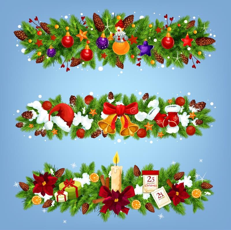 Kerstmis feestelijke slinger met Kerstmisgift en decor stock illustratie