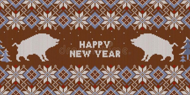 Kerstmis gebreid patroon met everzwijnen en sparren Gelukkig Nieuwjaar - Jaar van het Aardevarken stock illustratie