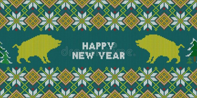 Kerstmis gebreid patroon met gele everzwijnen Gelukkig Nieuwjaar - Jaar van het gele Aardevarken vector illustratie